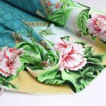 tecido floral barrado rosa e verde